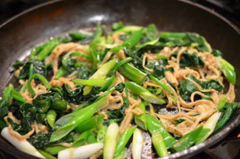 enoki spinach - add scallions