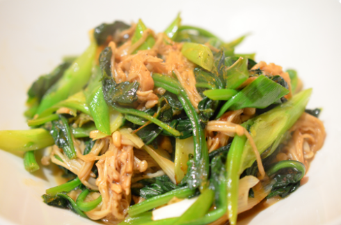 enoki spinach - serve