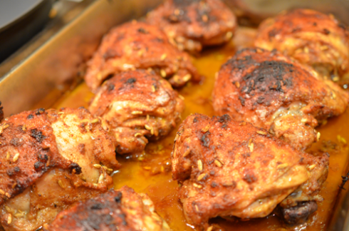 spiced chicken - out of oven