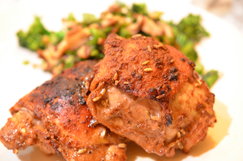 Crispy Spiced Chicken Thighs