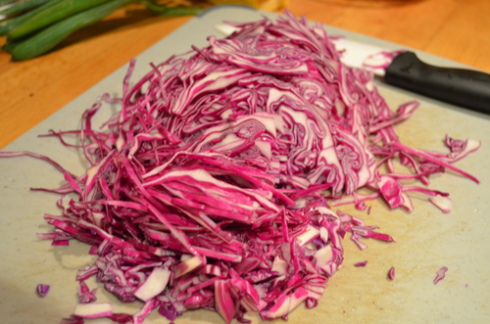 Red salad - shred cabbage