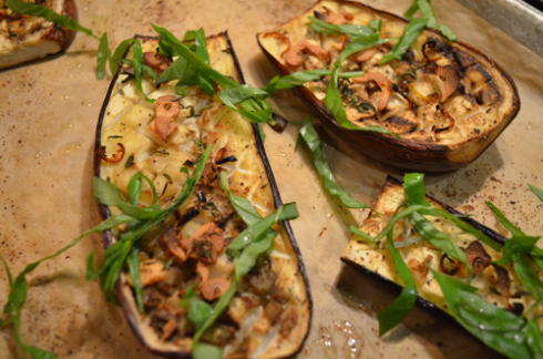 eggplant - garnish with  basil