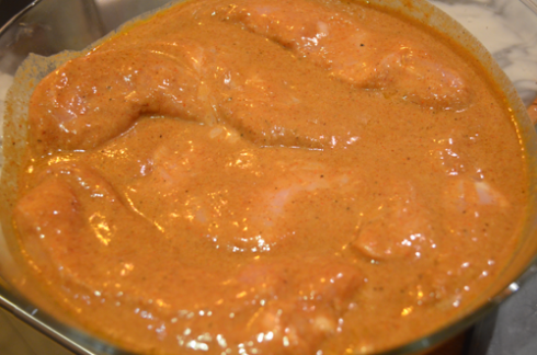 curry chicken - marinating